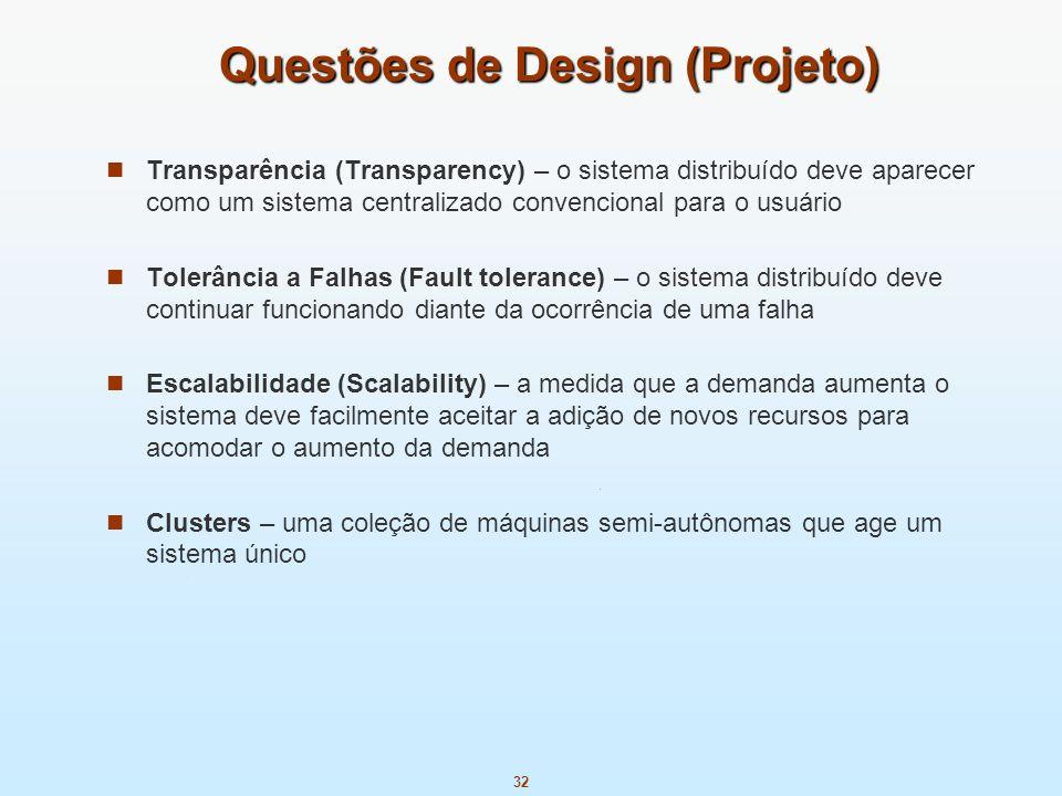 32 Questões de Design (Projeto) Transparência (Transparency) – o sistema distribuído deve aparecer como um sistema centralizado convencional para o us