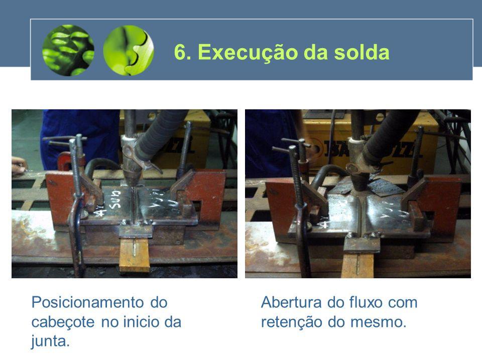 Posicionamento do cabeçote no inicio da junta. Abertura do fluxo com retenção do mesmo. 6. Execução da solda