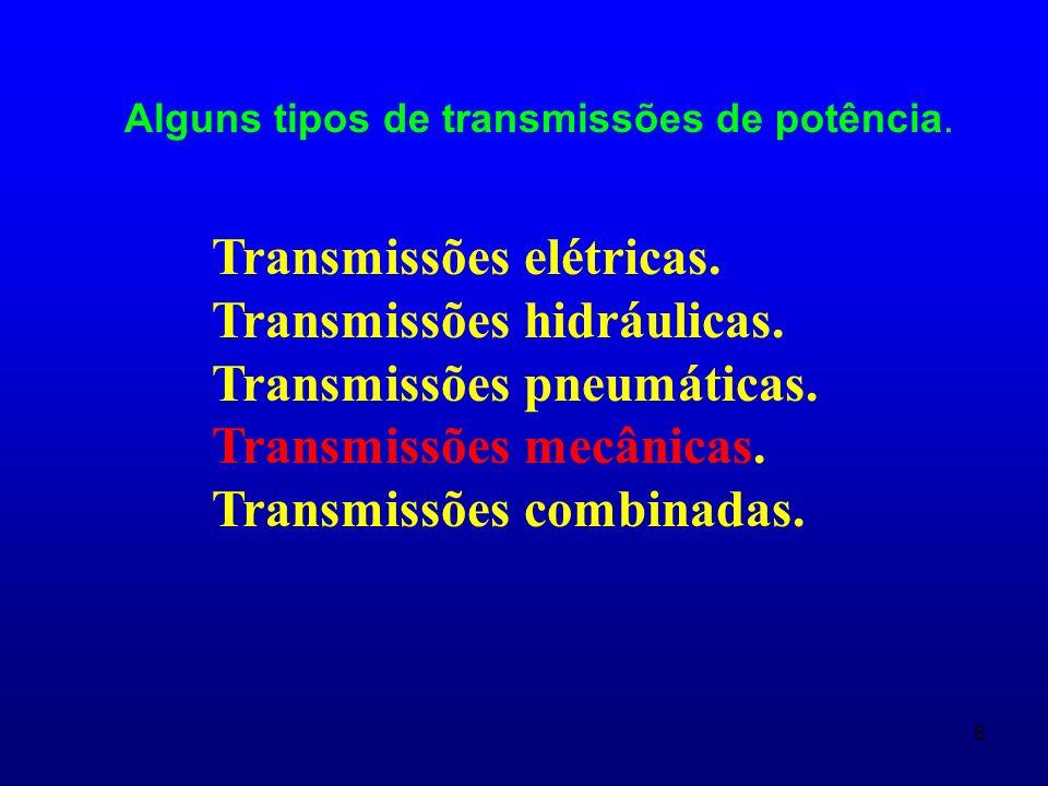 9 TRANSMISSÕES MECÂNICAS São aqueles mecanismos que se empregam para transmitir a energia mecânica da máquina motriz até os órgãos de trabalho da máquina movida, com transformação de velocidade, força ou momento; e às vezes com transformação do caráter e a lei de movimento