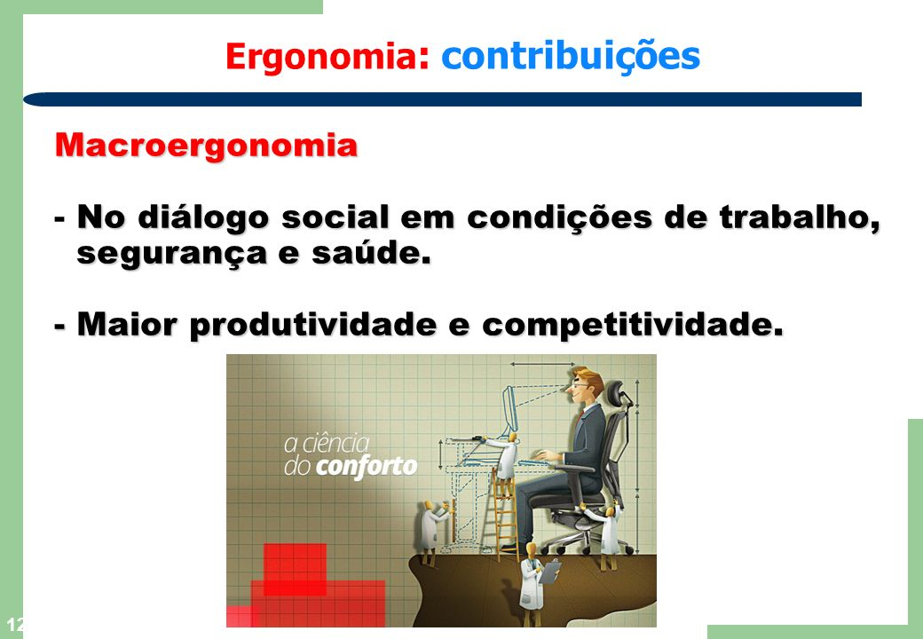 12 Ergonomia : contribuições Macroergonomia No diálogo social em condições de trabalho, - No diálogo social em condições de trabalho, segurança e saúde.