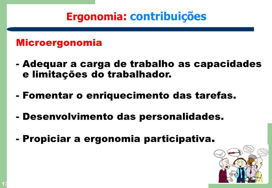 13 Ergonomia : contribuições Microergonomia - Adequar a carga de trabalho as capacidades e limitações do trabalhador. - Fomentar o enriquecimento das
