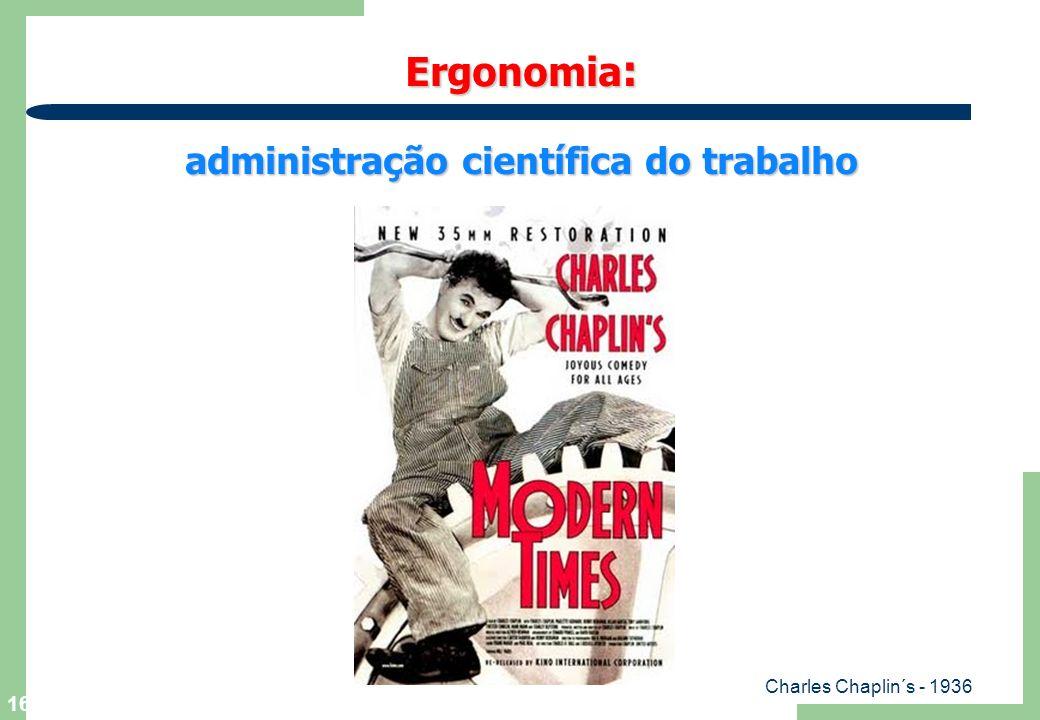 16 Ergonomia : administração científica do trabalho Charles Chaplin´s - 1936