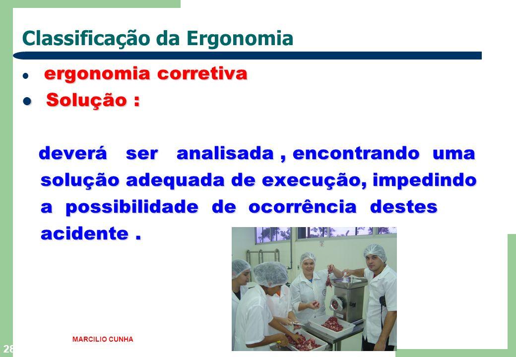 28 Classificação da Ergonomia ergonomia corretiva Solução : Solução : deverá ser analisada, encontrando uma solução adequada de execução, impedindo so