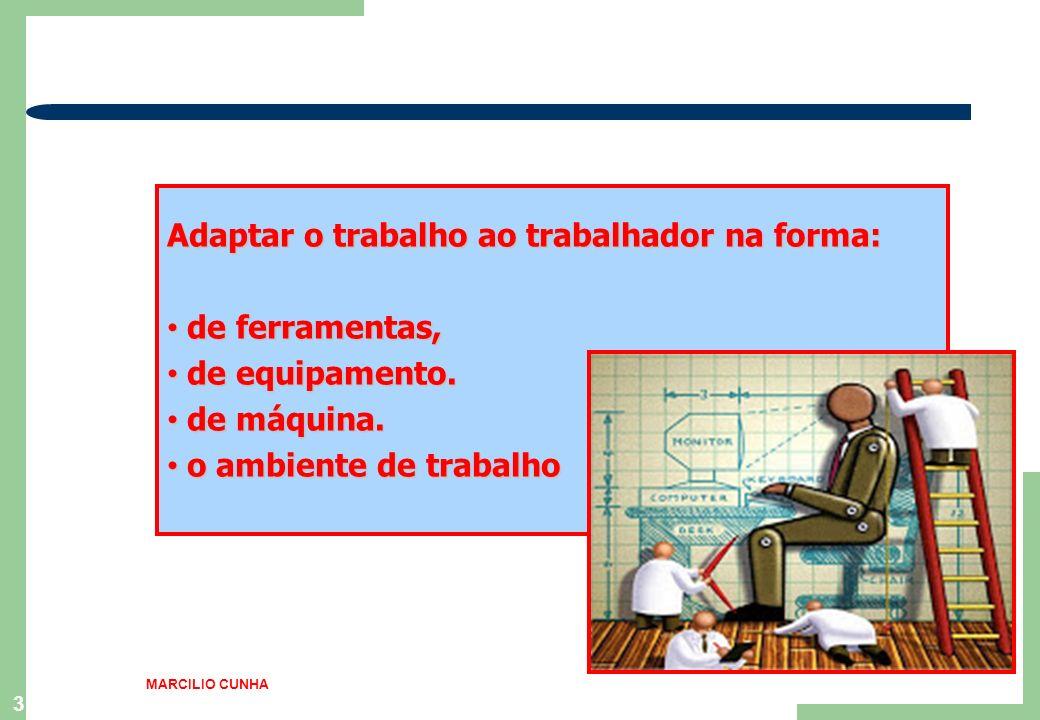 3 Adaptar o trabalho ao trabalhador na forma: de ferramentas, de ferramentas, de equipamento. de equipamento. de máquina. de máquina. o ambiente de tr