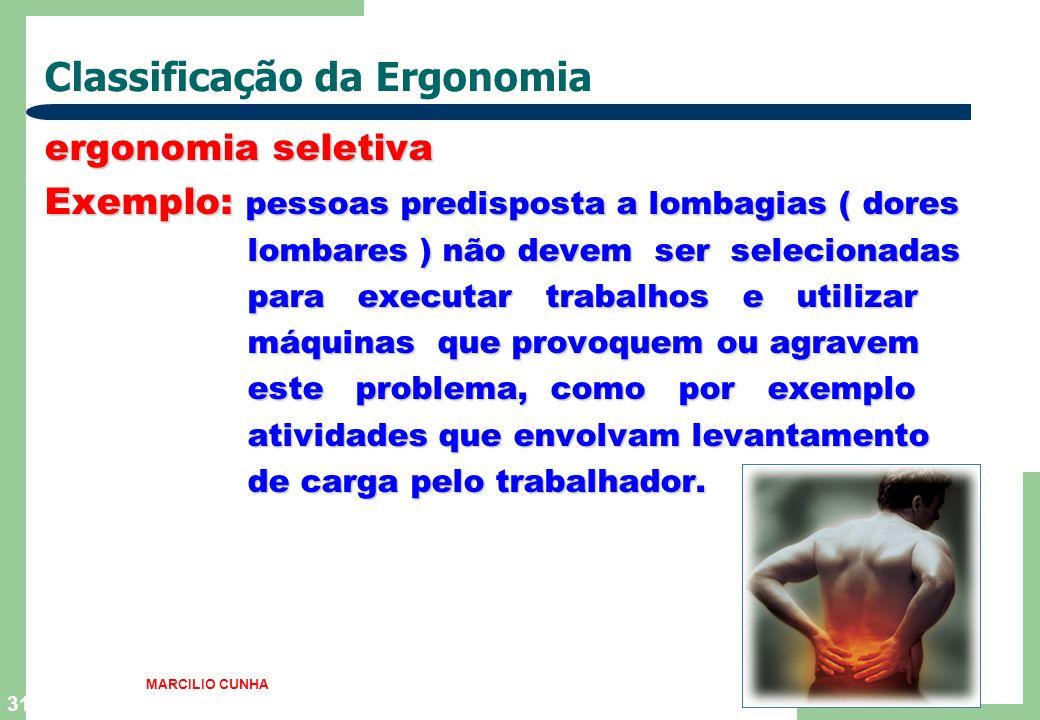31 Classificação da Ergonomia ergonomia seletiva Exemplo: pessoas predisposta a lombagias ( dores lombares ) não devem ser selecionadas lombares ) não