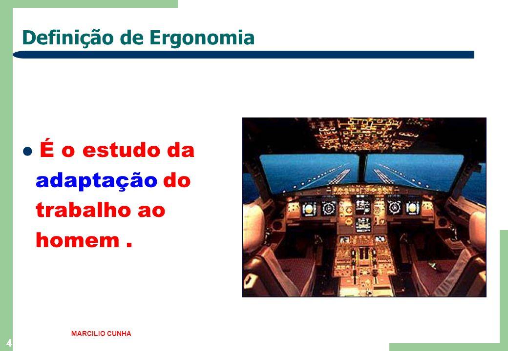 4 Definição de Ergonomia É o estudo da adaptação do trabalho ao homem. MARCILIO CUNHA