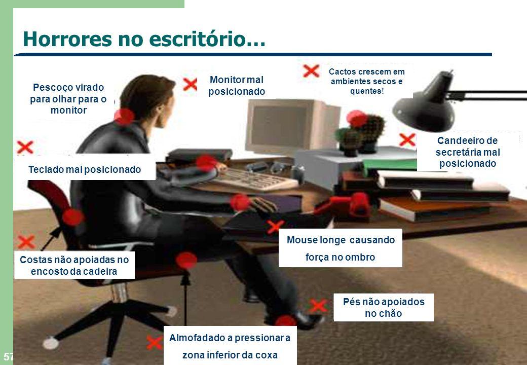 TEGAEL, SA - 2004 57 Horrores no escritório… Costas não apoiadas no encosto da cadeira Pés não apoiados no chão Mouse longe causando força no ombro Te