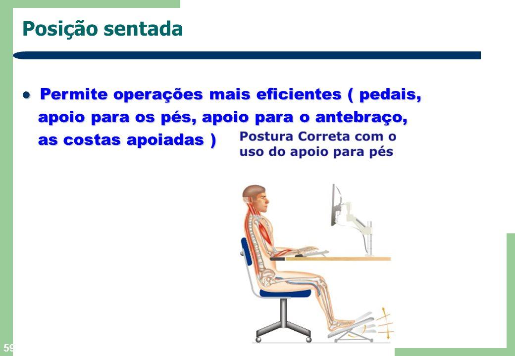 59 Posição sentada Permite operações mais eficientes ( pedais, Permite operações mais eficientes ( pedais, apoio para os pés, apoio para o antebraço,