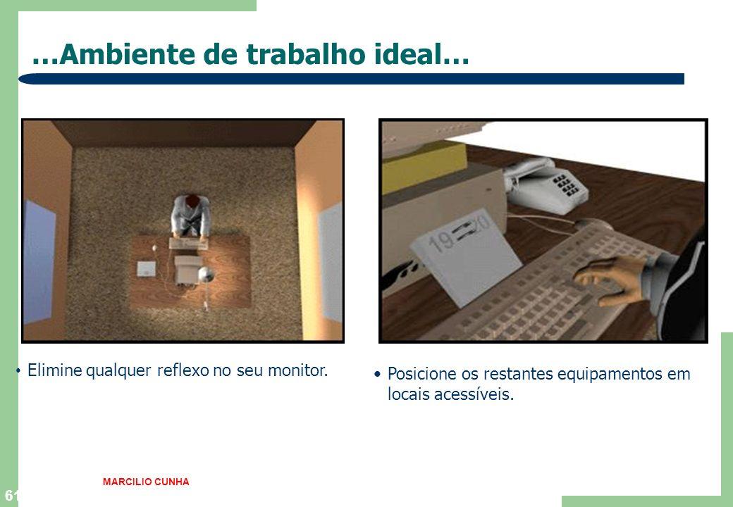 61 …Ambiente de trabalho ideal… Elimine qualquer reflexo no seu monitor. Posicione os restantes equipamentos em locais acessíveis. MARCILIO CUNHA