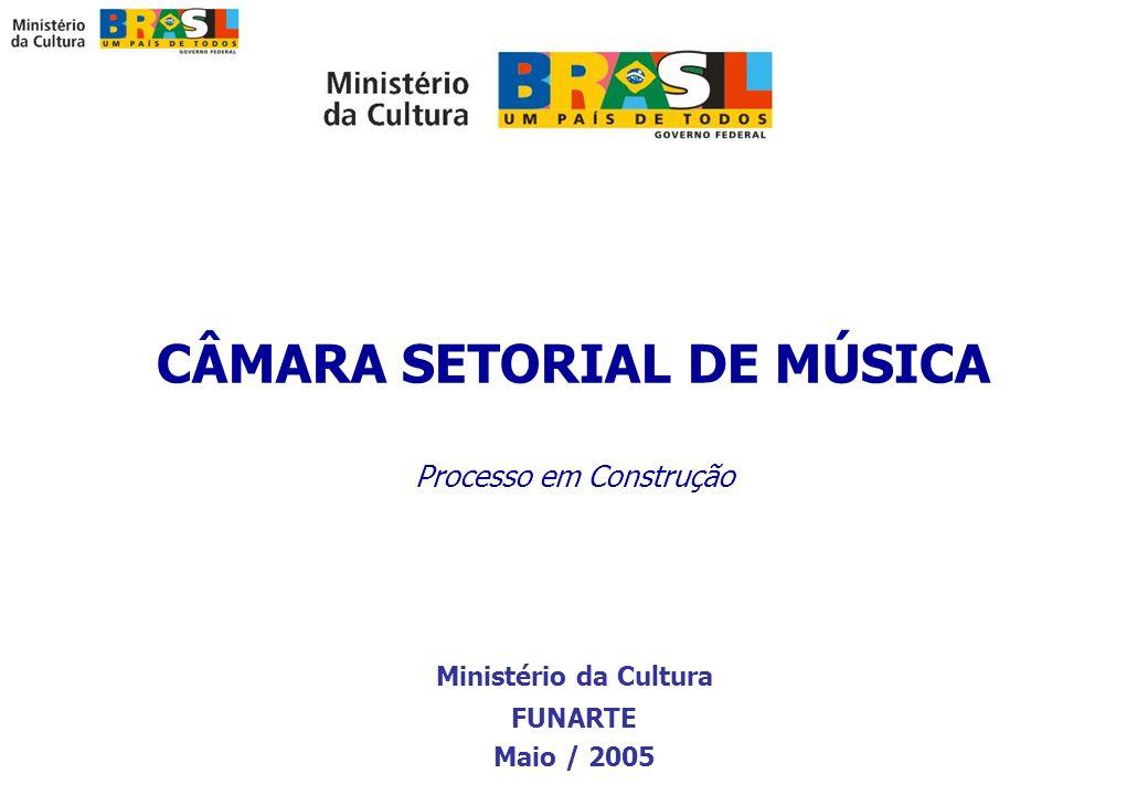 CÂMARA SETORIAL DE MÚSICA Processo em Construção Ministério da Cultura FUNARTE Maio / 2005