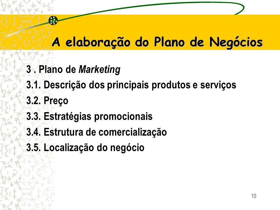 9 A elaboração do Plano de Negócios 2. Análise de Mercado 2.1. Estudo dos clientes 2.2. Estudo dos concorrentes 2.3. Estudo dos fornecedores