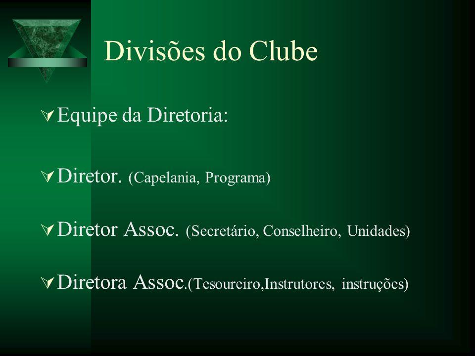 Divisões do Clube Equipe da Diretoria: Diretor. (Capelania, Programa) Diretor Assoc. (Secretário, Conselheiro, Unidades) Diretora Assoc.(Tesoureiro,In