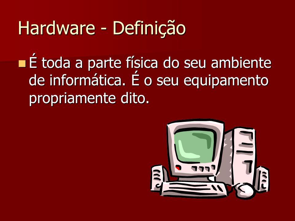 Hardware - Definição É toda a parte física do seu ambiente de informática. É o seu equipamento propriamente dito. É toda a parte física do seu ambient