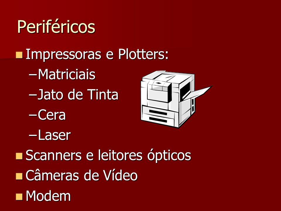 Periféricos Impressoras e Plotters: Impressoras e Plotters: –Matriciais –Jato de Tinta –Cera –Laser Scanners e leitores ópticos Scanners e leitores óp