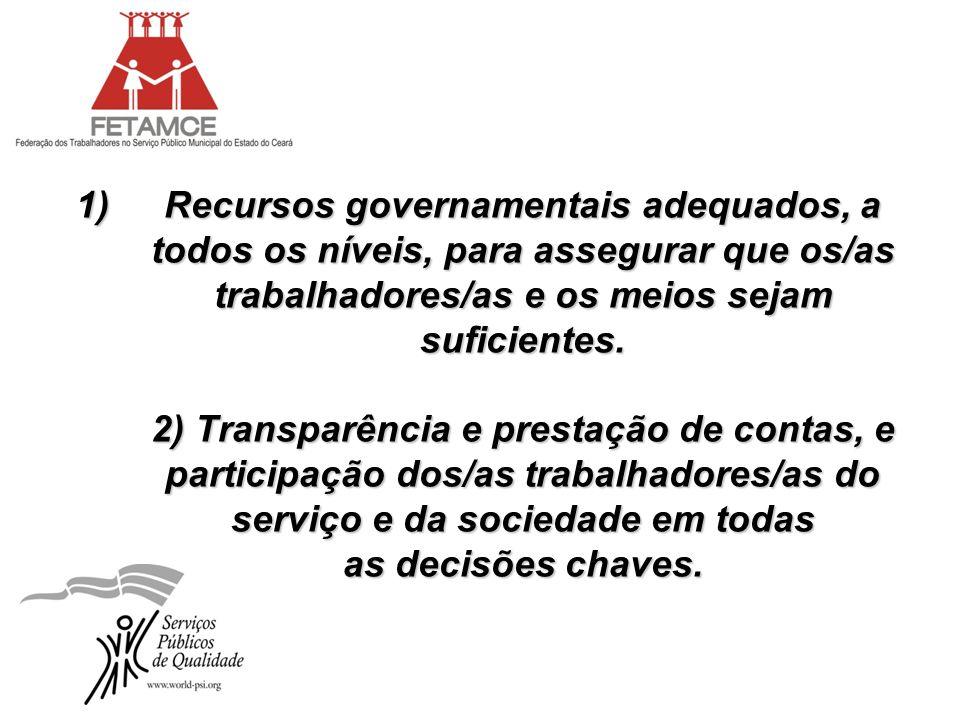 1)Recursos governamentais adequados, a todos os níveis, para assegurar que os/as trabalhadores/as e os meios sejam suficientes. 2) Transparência e pre