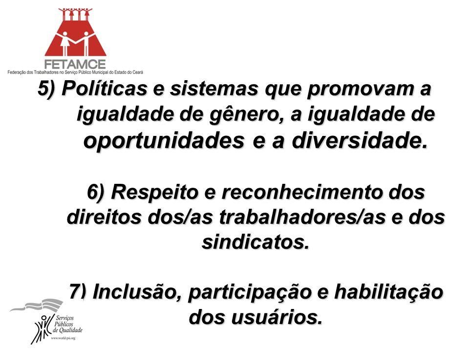 5) Políticas e sistemas que promovam a igualdade de gênero, a igualdade de oportunidades e a diversidade. 6) Respeito e reconhecimento dos direitos do