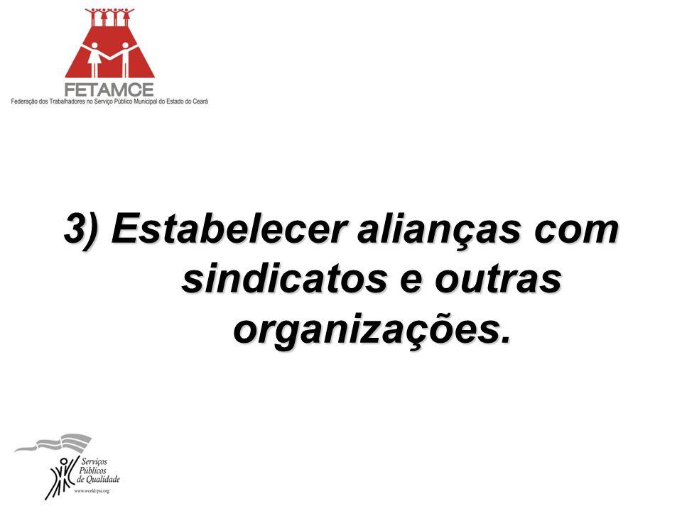 3) Estabelecer alianças com sindicatos e outras organizações.