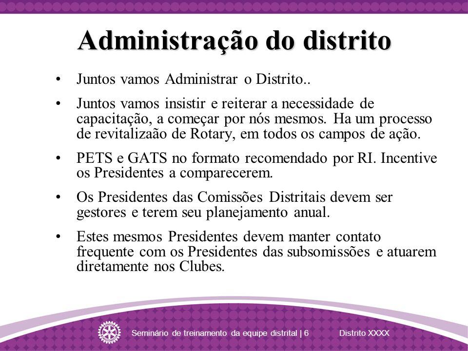 Seminário de treinamento da equipe distrital | 6 Distrito XXXX Juntos vamos Administrar o Distrito.. Juntos vamos insistir e reiterar a necessidade de