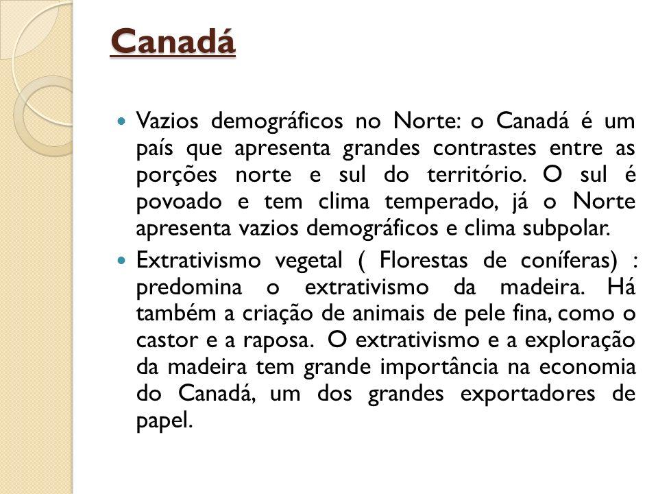 Canadá Vazios demográficos no Norte: o Canadá é um país que apresenta grandes contrastes entre as porções norte e sul do território. O sul é povoado e