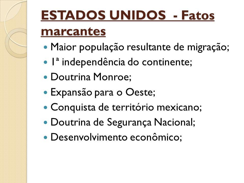 ESTADOS UNIDOS - Fatos marcantes Maior população resultante de migração; 1ª independência do continente; Doutrina Monroe; Expansão para o Oeste; Conqu