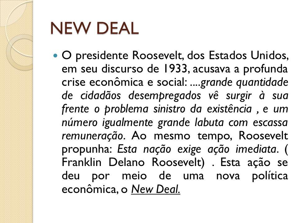NEW DEAL O presidente Roosevelt, dos Estados Unidos, em seu discurso de 1933, acusava a profunda crise econômica e social:....grande quantidade de cid