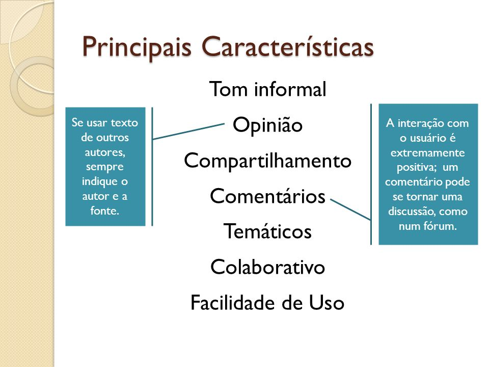 Principais Características Tom informal Opinião Compartilhamento Comentários Temáticos Colaborativo Facilidade de Uso A interação com o usuário é extr