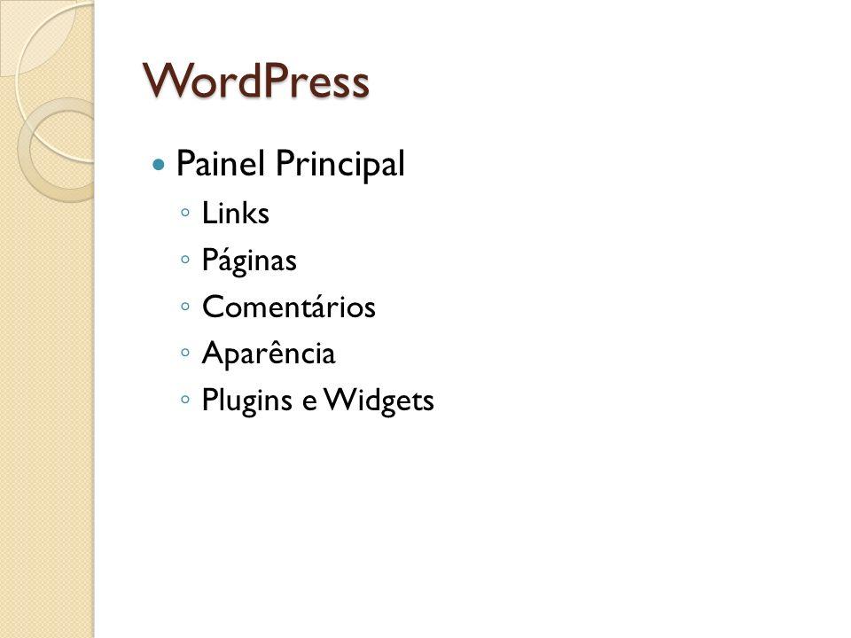 WordPress Painel Principal Links Páginas Comentários Aparência Plugins e Widgets