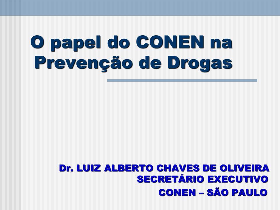 O papel do CONEN na Prevenção de Drogas Dr. LUIZ ALBERTO CHAVES DE OLIVEIRA SECRETÁRIO EXECUTIVO CONEN – SÃO PAULO CONEN – SÃO PAULO