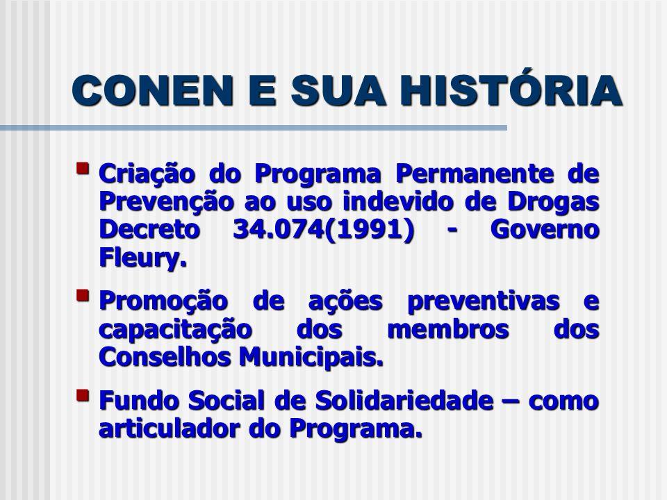 CONEN E SUA HISTÓRIA Governo Mário Covas - Decreto 40.218(1995) - passa ao Conselho as atribuições de articulação e acompanhamento exercidas pelo Fundo Social de Solidariedade.