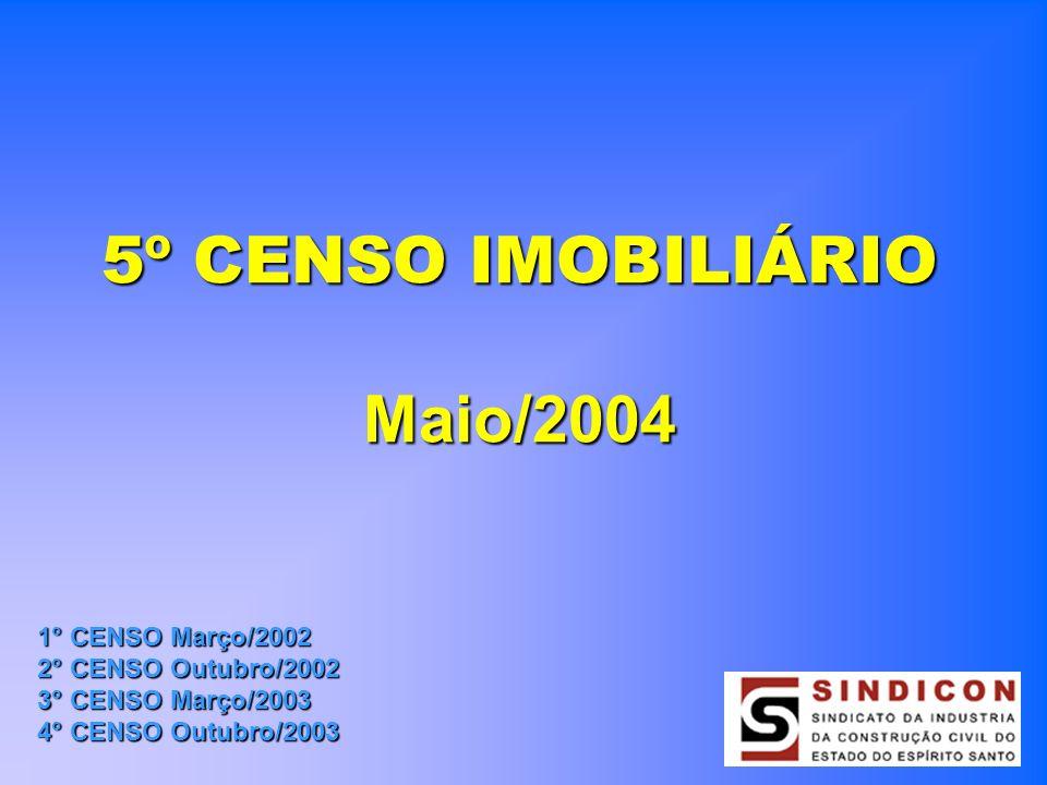 5º CENSO IMOBILIÁRIO Maio/2004 1° CENSO Março/2002 2° CENSO Outubro/2002 3° CENSO Março/2003 4° CENSO Outubro/2003
