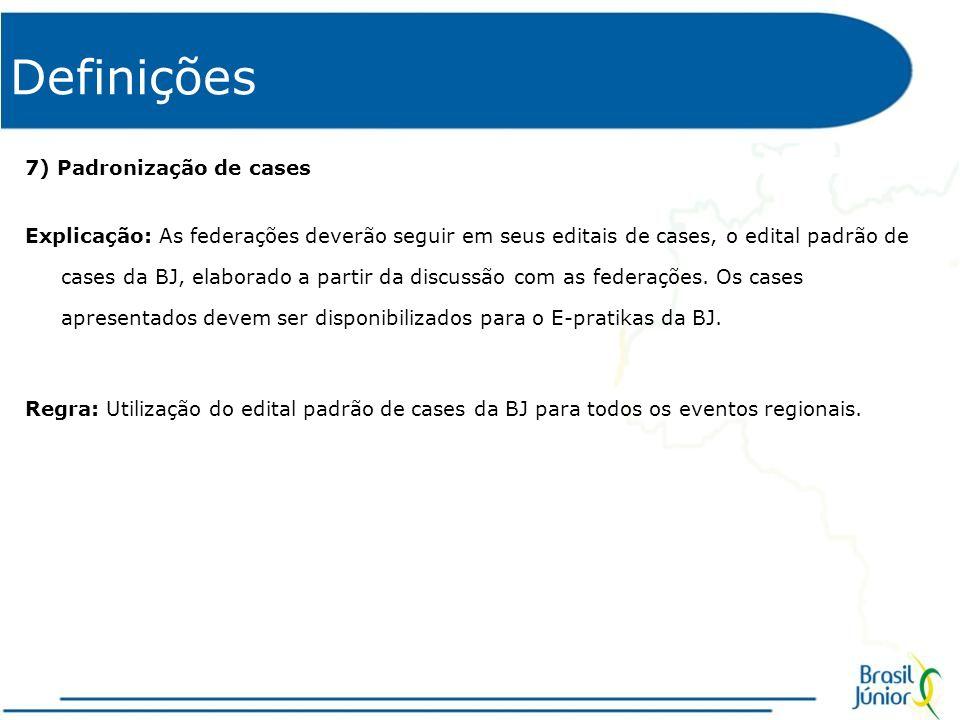 Definições 7) Padronização de cases Explicação: As federações deverão seguir em seus editais de cases, o edital padrão de cases da BJ, elaborado a partir da discussão com as federações.