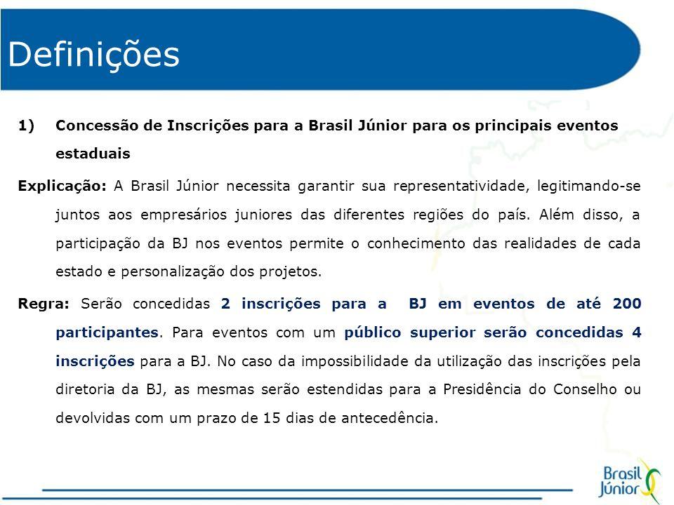 Definições 1)Concessão de Inscrições para a Brasil Júnior para os principais eventos estaduais Explicação: A Brasil Júnior necessita garantir sua representatividade, legitimando-se juntos aos empresários juniores das diferentes regiões do país.