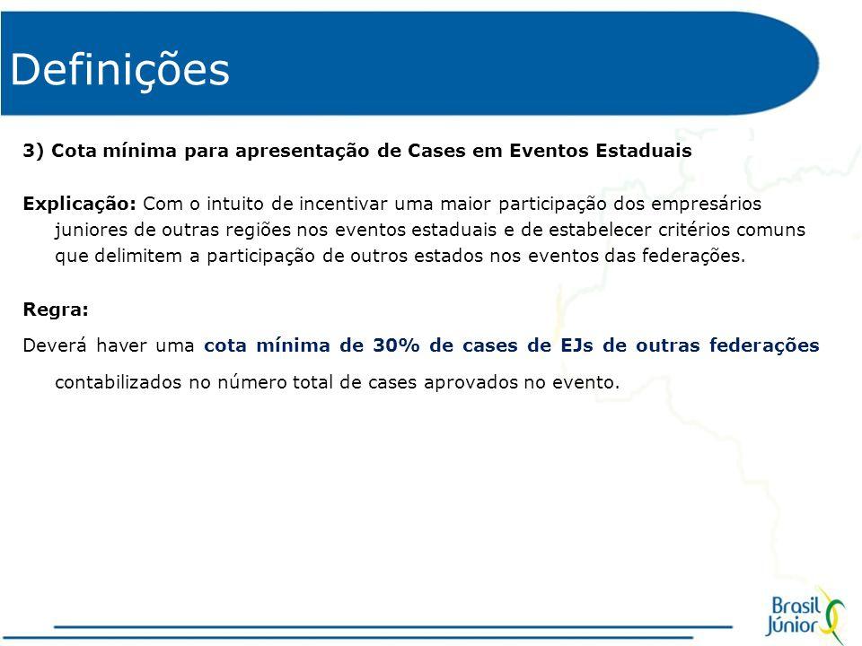 Definições 4) Participação da Brasil Júnior nos eventos regionais Explicação: A Brasil Júnior necessita fortalecer a sua imagem e divulgar seus trabalhos perante o MEJ, além de incentivar a participação das empresas juniores na Confederação.