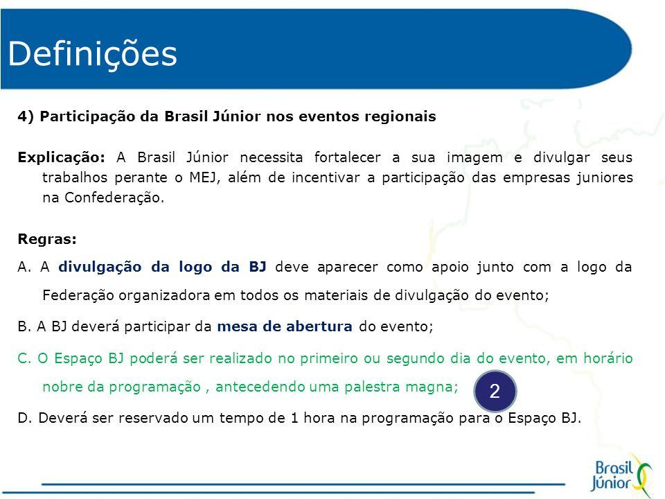 Definições 5) Participação de parceiros da BJ nos eventos regionais Explicação: É de fundamental importância para a BJ ampliar os meios de divulgação de parceiros, ampliando assim os meios de venda a BJ e, por consequência, a captação e prospecção de negócios tanto para a BJ, quanto para as Federações e Empresas Juniores.