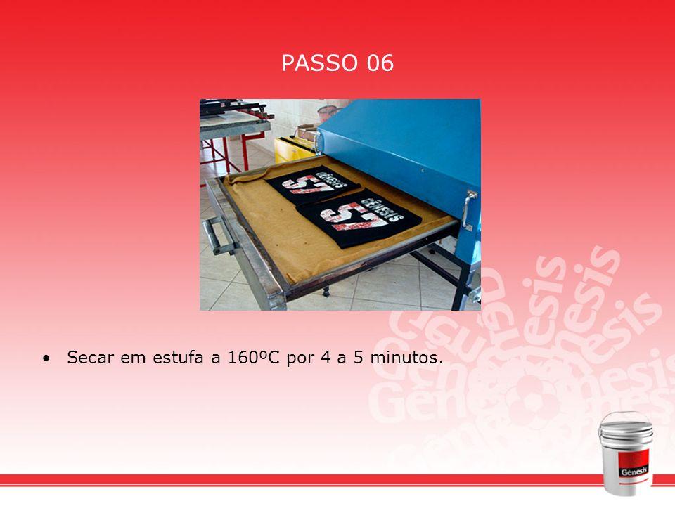 PASSO 06 Secar em estufa a 160ºC por 4 a 5 minutos.