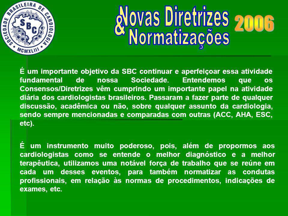 No momento, mais de 50 Normatizações e Diretrizes já foram publicadas, num programa grandioso e ousado, que só foi possível pelo desprendimento dos mais de 1.000 cardiologistas brasileiros.