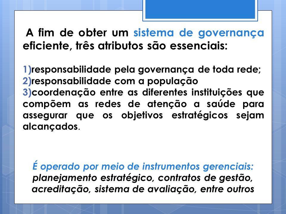A fim de obter um sistema de governança eficiente, três atributos são essenciais: 1)responsabilidade pela governança de toda rede; 2)responsabilidade