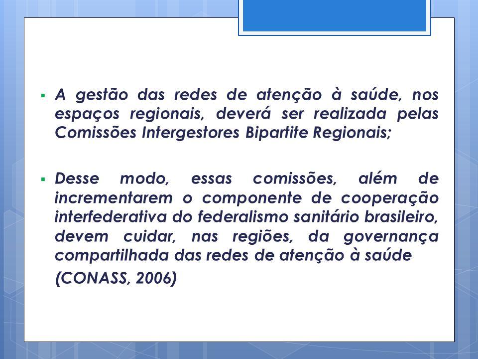 A gestão das redes de atenção à saúde, nos espaços regionais, deverá ser realizada pelas Comissões Intergestores Bipartite Regionais; Desse modo, essa