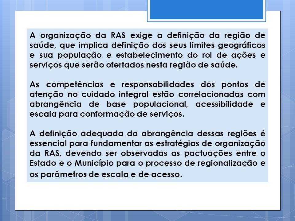 A organização da RAS exige a definição da região de saúde, que implica definição dos seus limites geográficos e sua população e estabelecimento do rol
