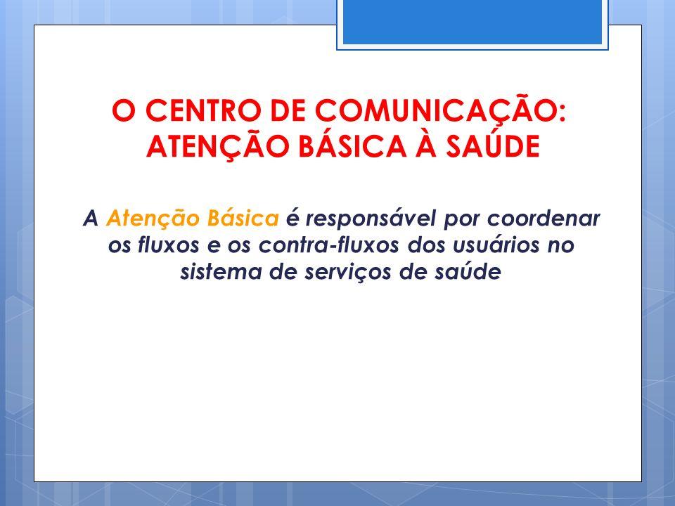 O CENTRO DE COMUNICAÇÃO: ATENÇÃO BÁSICA À SAÚDE A Atenção Básica é responsável por coordenar os fluxos e os contra-fluxos dos usuários no sistema de s