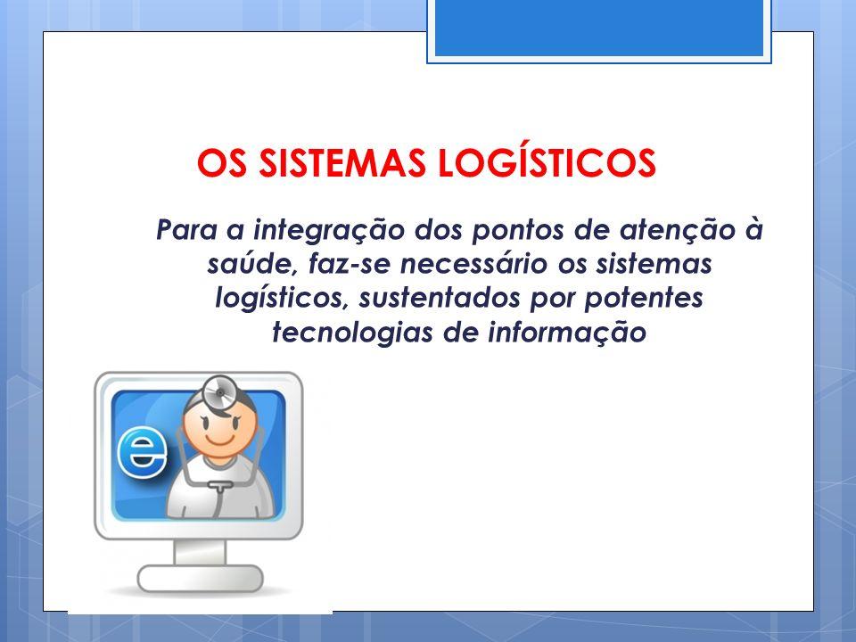 OS SISTEMAS LOGÍSTICOS Para a integração dos pontos de atenção à saúde, faz-se necessário os sistemas logísticos, sustentados por potentes tecnologias