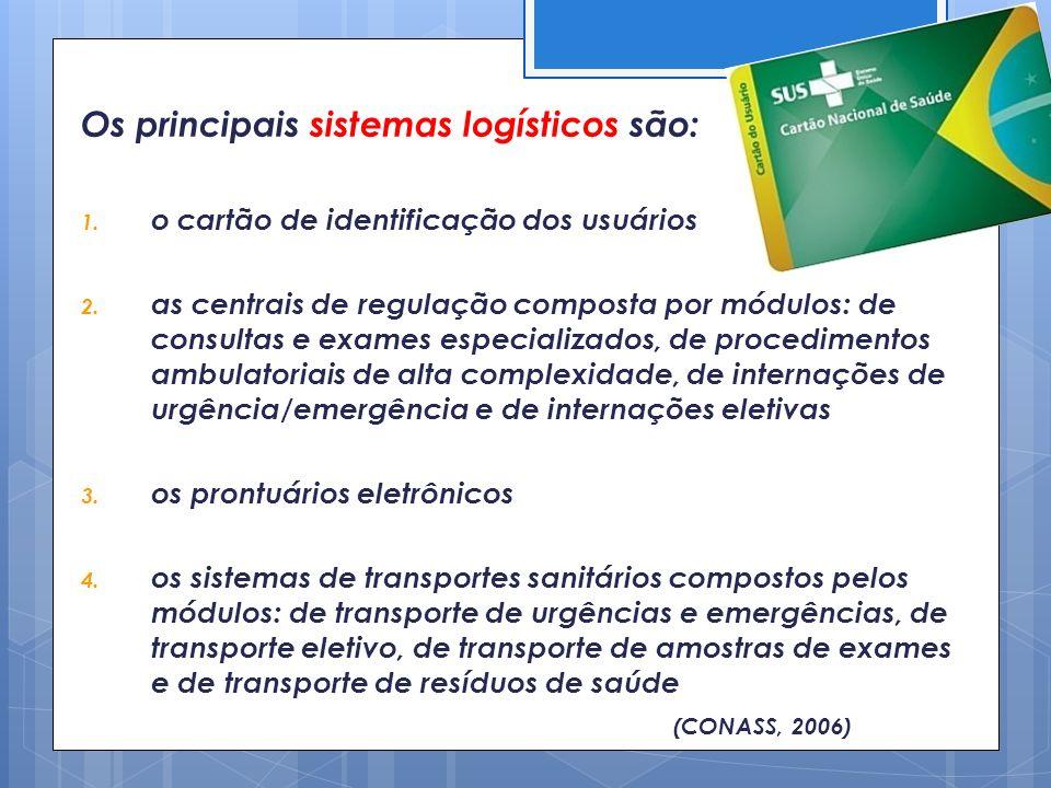 Os principais sistemas logísticos são: 1. o cartão de identificação dos usuários 2. as centrais de regulação composta por módulos: de consultas e exam