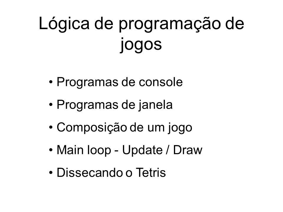 Lógica de programação de jogos Programas de console Programas de janela Composição de um jogo Main loop - Update / Draw Dissecando o Tetris