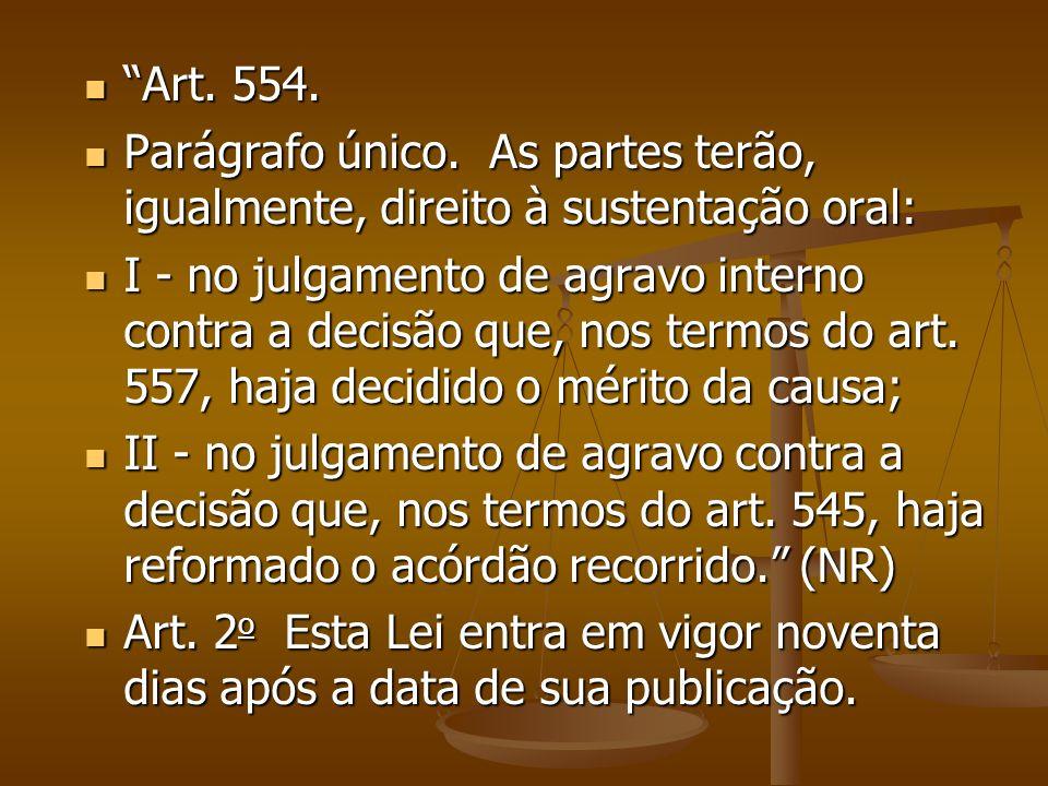 Art. 554. Art. 554. Parágrafo único. As partes terão, igualmente, direito à sustentação oral: Parágrafo único. As partes terão, igualmente, direito à