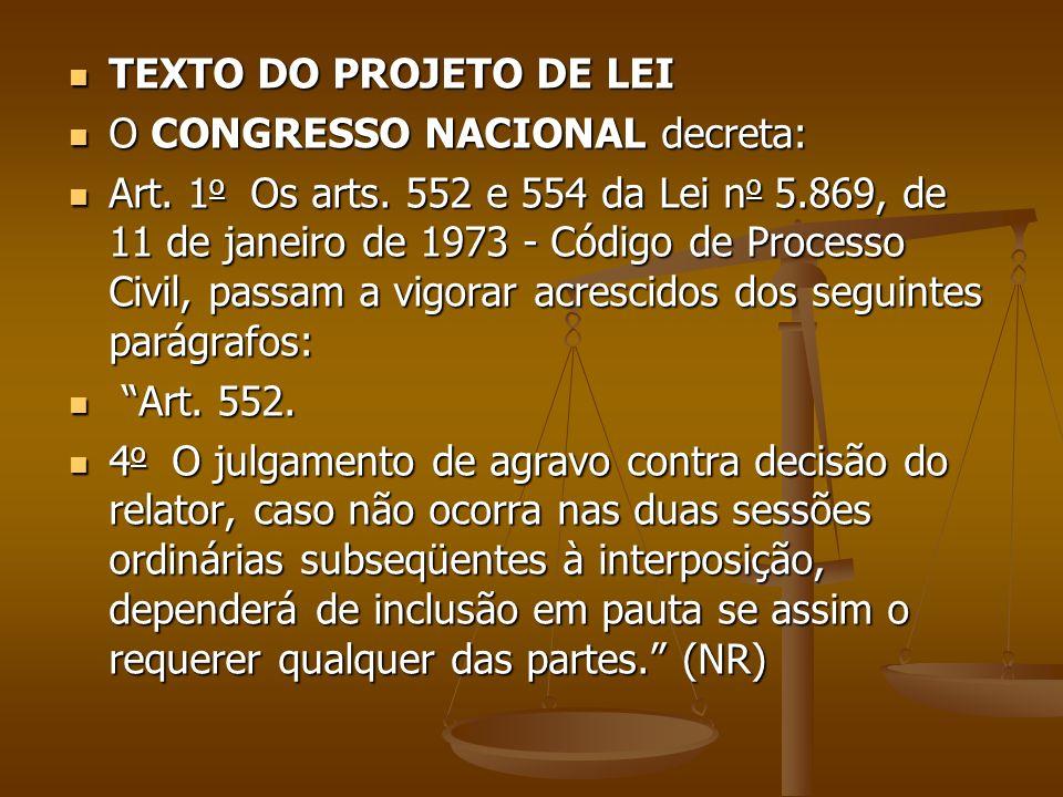 TEXTO DO PROJETO DE LEI TEXTO DO PROJETO DE LEI O CONGRESSO NACIONAL decreta: O CONGRESSO NACIONAL decreta: Art. 1 o Os arts. 552 e 554 da Lei n o 5.8