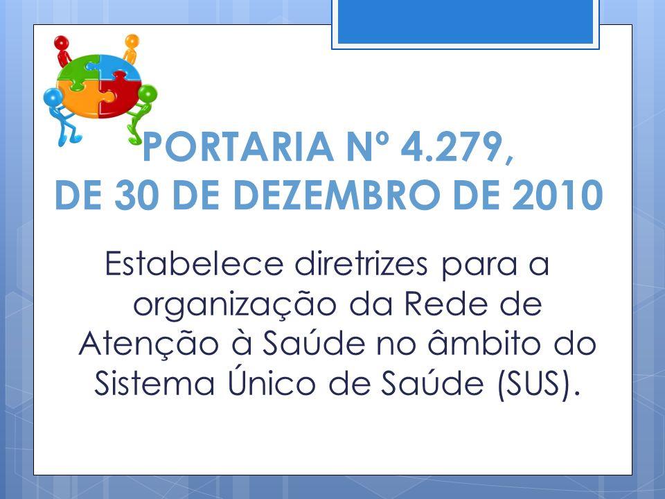 1.BRASIL.Ministério da Saúde. Portaria GM/MS n. 4279.