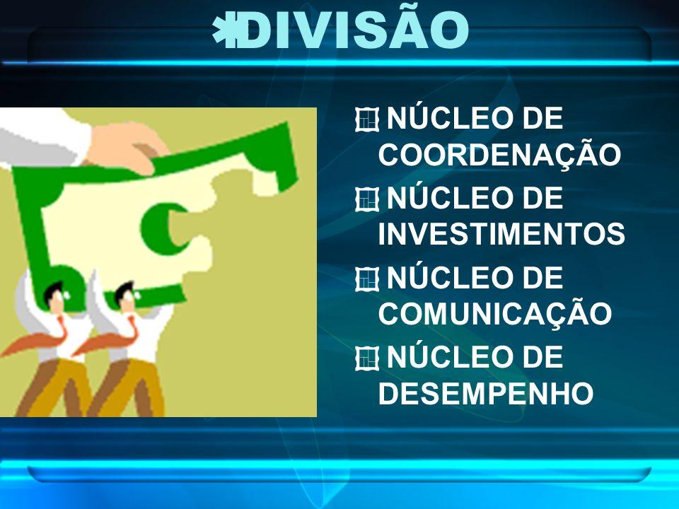 DIVISÃO NÚCLEO DE COORDENAÇÃO NÚCLEO DE INVESTIMENTOS NÚCLEO DE COMUNICAÇÃO NÚCLEO DE DESEMPENHO