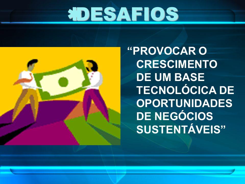DESAFIOS DESAFIOS PROVOCAR O CRESCIMENTO DE UM BASE TECNOLÓCICA DE OPORTUNIDADES DE NEGÓCIOS SUSTENTÁVEIS