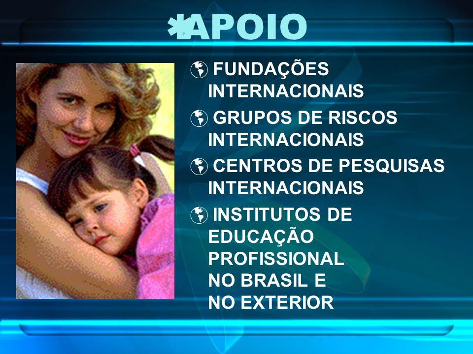APOIO FUNDAÇÕES INTERNACIONAIS GRUPOS DE RISCOS INTERNACIONAIS CENTROS DE PESQUISAS INTERNACIONAIS INSTITUTOS DE EDUCAÇÃO PROFISSIONAL NO BRASIL E NO EXTERIOR