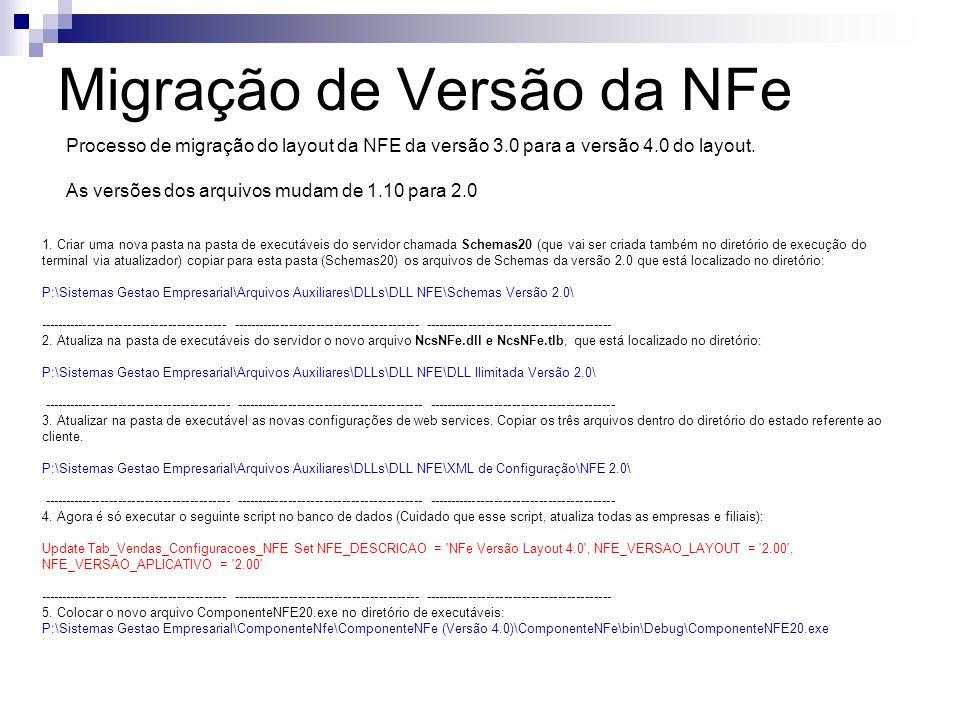 Migração de Versão da NFe Processo de migração do layout da NFE da versão 3.0 para a versão 4.0 do layout.